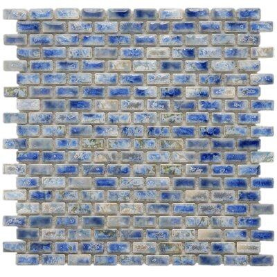 Arcadia 11-3/4 x 11-3/4 Glazed Porcelain Subway Mosaic in Neptune Blue