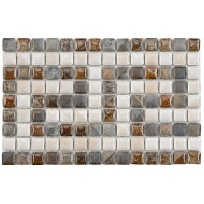 Samoan Greek Key 0.56 x 0.56 Porcelain Mosaic Tile in Gray/Brown
