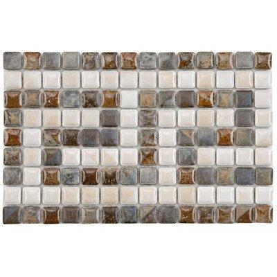 Samoan Greek Key 0.563 x 0.563 Porcelain Mosaic Tile in Glazed Gray/Brown