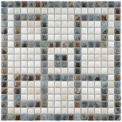 Samoan Greek Key 0.56 x 0.56 Porcelain Mosaic Tile in Gray/White