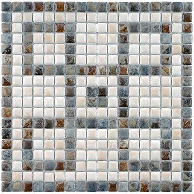 Samoan Greek Key 0.563 x 0.563 Porcelain Mosaic Tile in Glazed Gray/White