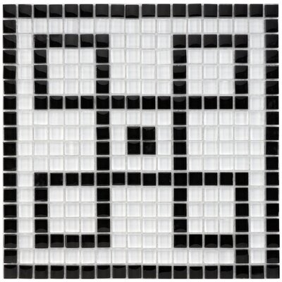 Sierra Greek Key 0.57 x 0.57 Porcelain Mosaic Tile in Black/White