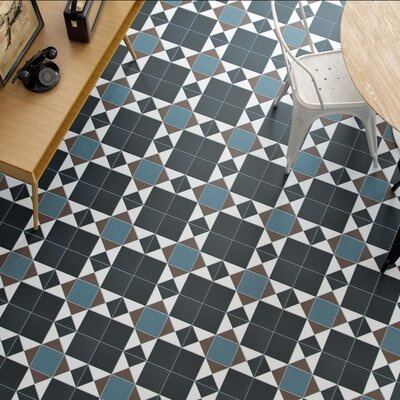 Narcisso Nouveau 13 x 13 Porcelain Tile in Black/Blue/Beige
