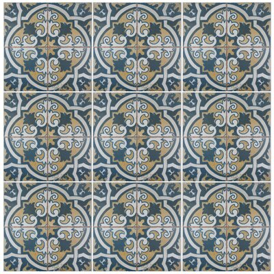 Royalty Canarsie 17.75 x 17.75 Ceramic Field Tile in Blue/White/Yellow