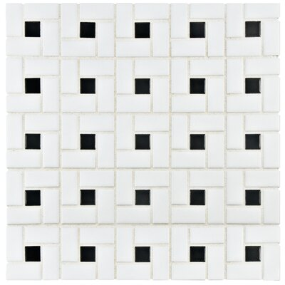 Retro Random Sized Porcelain Mosaic Tile in White/Black