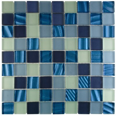 Neptunian 1.19 x 1.19 Glass Mosaic Tile in Blue