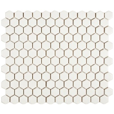 Retro 0.875 x 0.875 Hex Porcelain Mosaic Tile in Matte White