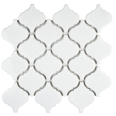 Retro 2.87 x 3.06 Porcelain Lantern Mosaic Tile in Glossy White