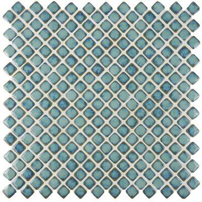 Gem 0.71 x 0.71 Porcelain Mosaic Tile in Glossy Marine