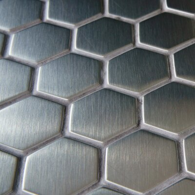 Metallic 1 x 1 Stainless Steel Over Ceramic Mosaic Tile in Silver