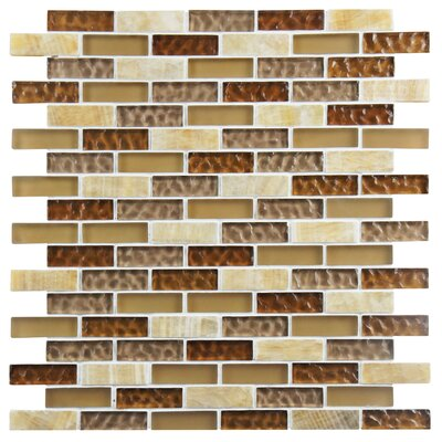 Sierra 0.58 x 1.88 Glass and Natural Stone Mosaic Tile in Amber