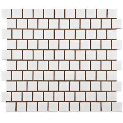 Retro Square Offset 1 x 1 Porcelain Mosaic Tile in Matte