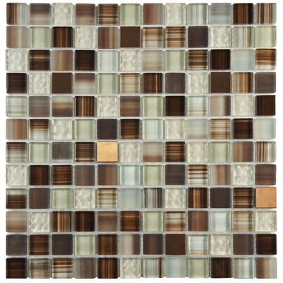 Sierra 0.88 x 0.88 Glass and Metal Mosaic Tile in Truffle