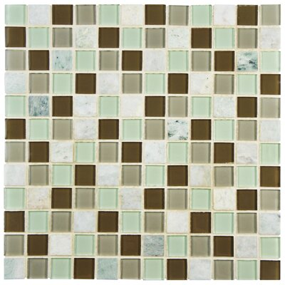 Chroma 0.89 x 0.89 Glass and Natural Stone Mosaic Tile in Brown/Green