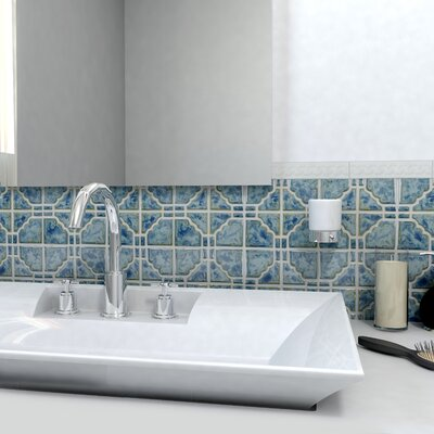 Moonlight Random Sized Porcelain Mosaic Tile in Pacific Blue