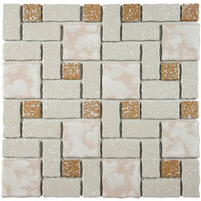 Pallas Random Sized Porcelain Mosaic Tile in Beige