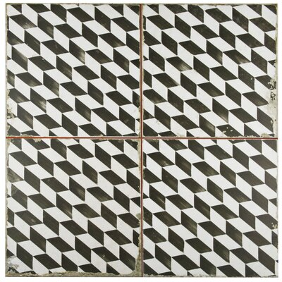 Royalty 17.75 x 17.75 Ceramic Field Tile in Matte Black/White