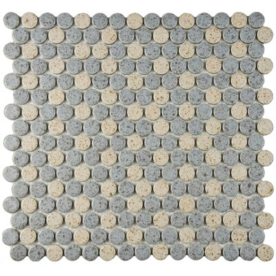 Penny 0.8 x 0.8 Porcelain Mosaic Tile in Gray/Cream
