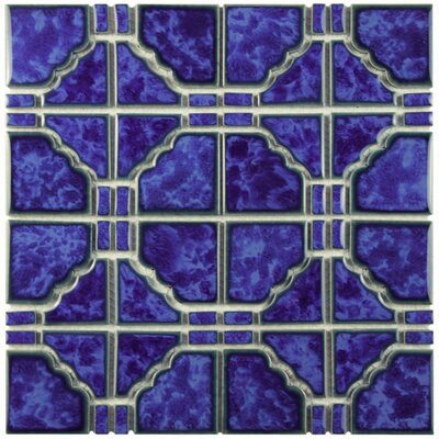 Kansai Random Sized Porcelain Mosaic Tile in Blue