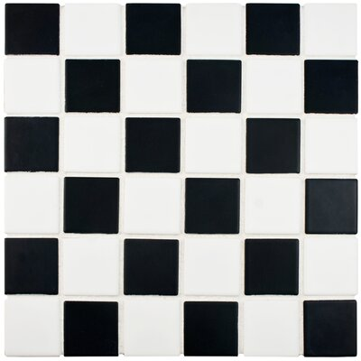 Arthur 2 x 2 Porcelain Mosaic Tile in Black/White