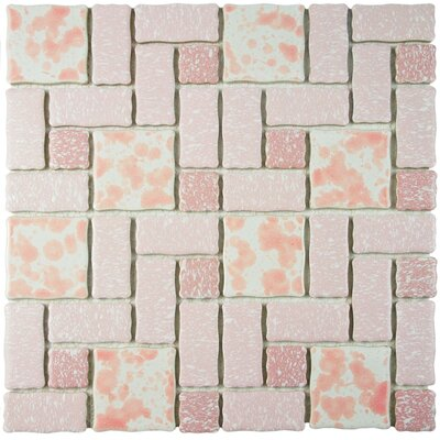 Pallas Random Sized Porcelain Mosaic Tile in Pink