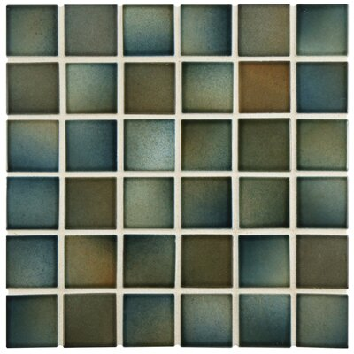 Arthur 2 x 2 Porcelain Mosaic Tile in Brown/Green