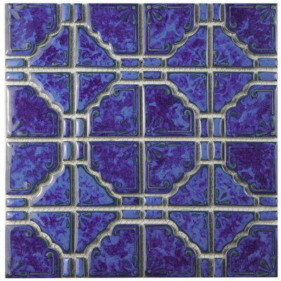 Elara Random Sized Porcelain Mosaic Tile in Blue