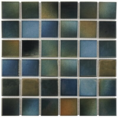 Arthur 2 x 2 Porcelain Mosaic Tile in Blue/Brown