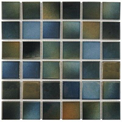 Arthur 2 x 2 Porcelain Mosaic Tile in Blue/Brown