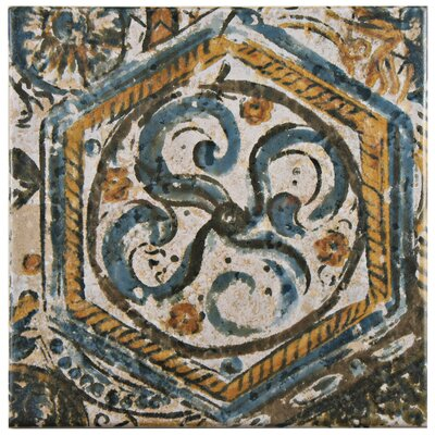 Romana 7.75 x 7.75 Ceramic Field Tile in Blue/Orange