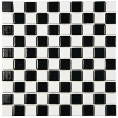 Derecha 1 x 1 Porcelain Mosaic Tile in Black/White