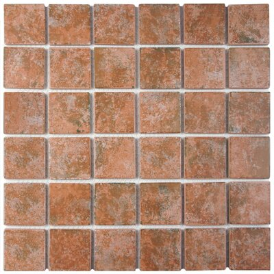 Elbert 2 x 2 Porcelain Mosaic Tile in Matte Brown/Orange/Gray