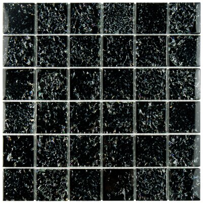 Entira 1.89 x 1.89 Glass Mosaic Tile in Crackle Black