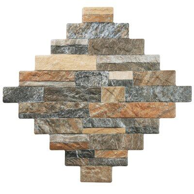 Francesco 12.25 x 12.25 Porcelain Splitface Tile in Brown/Gray
