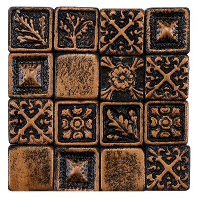 Barroco 1 x 1 Metallic/Resin Wall Medallions Tile in Brass