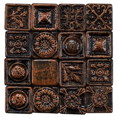 Barroco 1 x 1 Metallic Resin Wall Medallions Tile in Copper