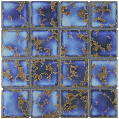 Canal 3 x 3 Mega Square Porcelain Mosaic Tile in Blue