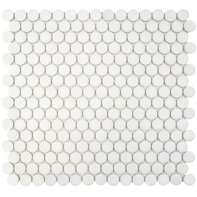 Penny 0.8 x 0.8 Porcelain Mosaic Tile in Matte White
