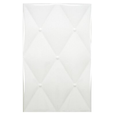 Boudeur 15.75 x 9.75 Ceramic Fabric Look Tile in White