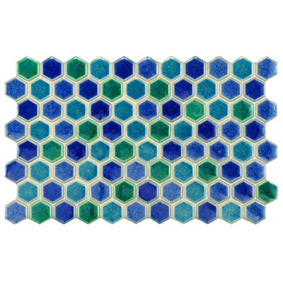 Genoa 9 x 5.5 Porcelain Mosaic Tile in Blue/Green