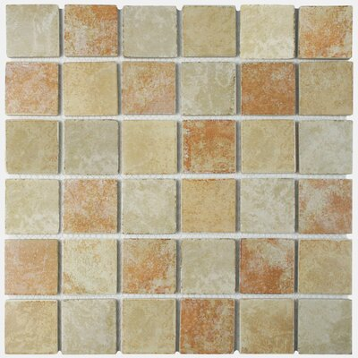 Elbert 2 x 2 Porcelain Mosaic Tile in Quad Brown/Gray