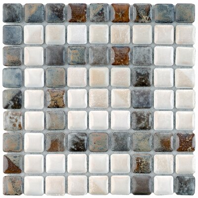 Samoan Greek Key 0.56 x 0.56 Corner Porcelain Mosaic Tile in Gray/White