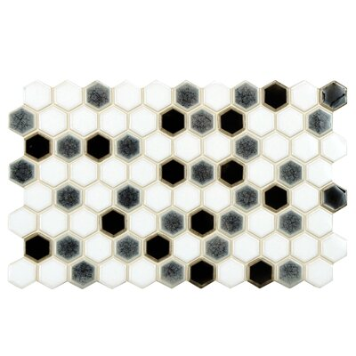 Genoa 9 x 5.5 Porcelain Mosaic Tile in Black/White