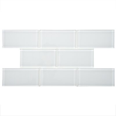 Sierra 3 x 6 Glass Subway Tile in White