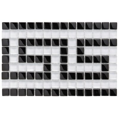Sierra Greek Key 0.57 x 0.57 Glass Mosaic Tile in Black/White