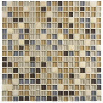 Sierra 0.58 x 0.58 Glass and Natural Stone Mosaic Tile in Blue/Beige