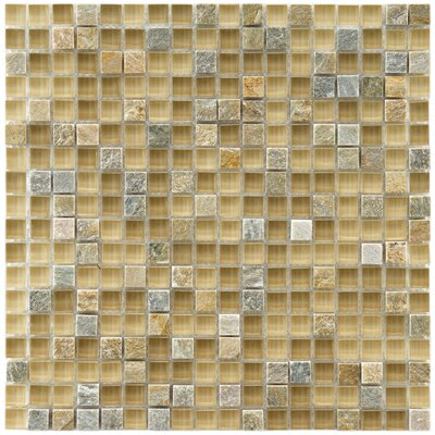 Sierra 0.58 x 0.58 Glass and Natural Stone Mosaic Tile in Beige/Gray