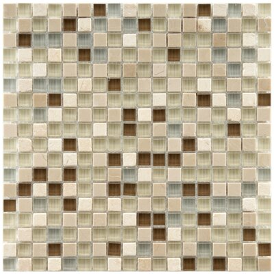 Sierra 0.58 x 0.58 Glass and Natural Stone Mosaic Tile in Multi-colored