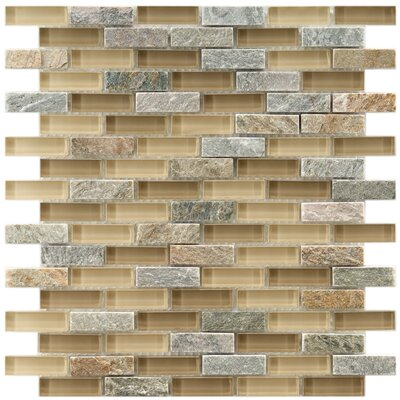Sierra 0.58 x 1.88 Glass and Natural Stone Mosaic Tile in Cream/Gray