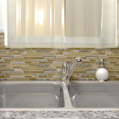 Sierra Random Sized Glass and Natural Stone Mosaic Tile in Gray/Brown